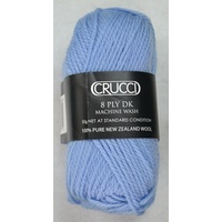 Crucci 8 Ply DK Knitting Yarn 100% Pure New Zealand Wool, 50g Ball, SOFT BLUE