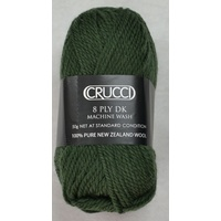 Crucci 8 Ply DK Knitting Yarn 100% Pure New Zealand Wool, 50g Ball, DEEP SAGE