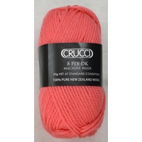 Crucci 8 Ply DK Knitting Yarn 100% Pure New Zealand Wool, 50g Ball, CORAL