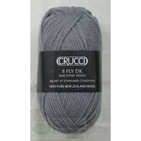 Crucci 8 Ply DK Knitting Yarn Pure New Zealand Wool, 50g Ball, #98 SILVER