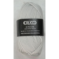 Crucci 8 Ply DK Knitting Yarn 100% Pure New Zealand Wool, 50g Ball, SIMPLY GREY