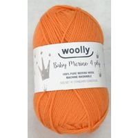 WOOLLY 4 Ply Baby Merino Knitting Yarn, 100% Pure Merino Wool, 50g Ball, ORANGE