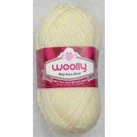 Crucci's WOOLLY 8 Ply 100% Pure Wool Machine Wash, 50g Ball, WHITE