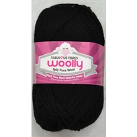 Crucci's WOOLLY 8 Ply 100% Pure Wool Machine Wash, 50g Ball, BLACK