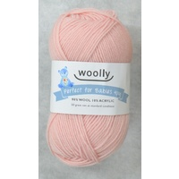 Woolly Perfect For Babies Knitting Yarn, 90% Wool 4 Ply, 50g Ball #302 PINK