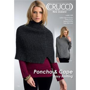 Crucci Knitting Pattern 1406, For Natural DK 8ply, Ladies Cape and Poncho