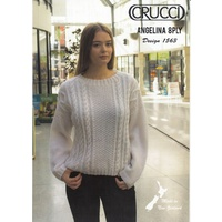 Crucci Knitting Pattern 1563, Aran Sweater, Designed for Angelina 8 Ply Wool