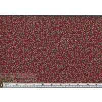 Metallic Christmas Holly Red, 112cm Wide per Metre