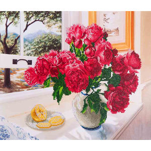 Diamond Dotz 5D Embroidery Facet Art Kit, ROSES BY THE WINDOW, Round Dots