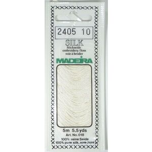Madeira 100% PURE SILK Colour 2405, 4-Strand Hand Embroidery Thread, BRIGHT WHITE