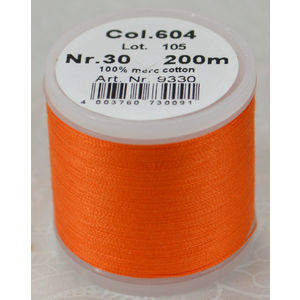 Madeira Cotona 30, 200m Embroidery & Quilting Thread Colour 604 Orange