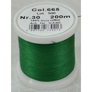 Madeira Cotona 30, 200m Embroidery & Quilting Thread Colour 665 Green