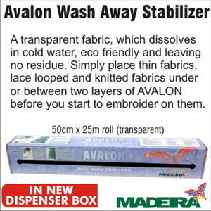 Madeira Avalon Wash Away Stabiliser (Solvy), 50cm x 25m Full Roll Transparent
