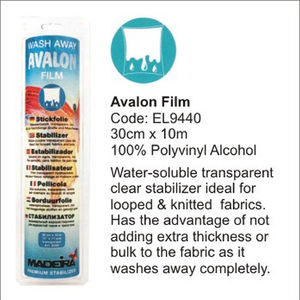 Madeira Avalon Film Wash Away Embroidery Stabilizer (Solvy) 30cm x 10m Roll