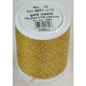 Madeira Glamour 12 Heavy Metallic Embroidery Thread, 200m Spool, Colour GOLD MEDAL 3021