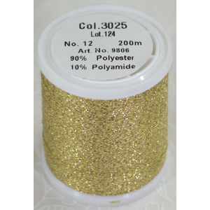 Madeira Glamour 12 Metallic Embroidery Thread, 200m PURE GOLD 3025