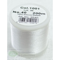 Madeira Rayon 40 Machine Embroidery Thread 200m #1001 WHITE