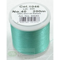 Madeira Rayon 40 Machine Embroidery Thread 200m Colour 1046 EUCALYPTUS GREEN