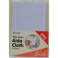 "Sew Easy Aida Cloth 36cm x 45cm (14"" x 17 1/2"") 14 Count, WHITE"