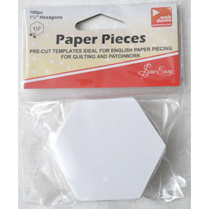"Sew Easy Paper Hexagon Pieces 1 1/4"", Packet of 100 Pre-Cut Templates"