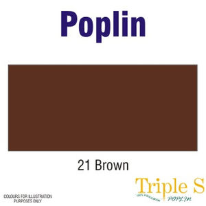Polycotton Poplin Fabric, 112cm Wide Per Metre, Colour: BROWN