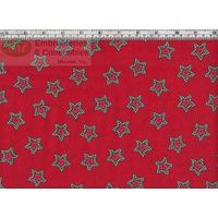 Christmas Gingham Star GREEN / RED, 137cm Per Metre