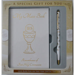 Confirmation Gift Set, Mass Book And Pen, WHITE