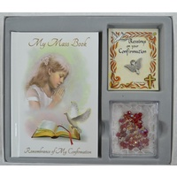 Confirmation Gift Set, GIRL, Mass Book, Dove Lapel Pin & Rosary