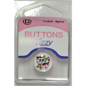 Vizzy Buttons Style 51, Kitten Picture 15mm Round, Shanked, Packet Of 4 Buttons
