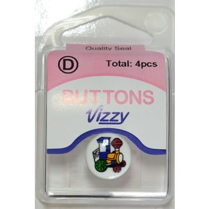 Vizzy Buttons Style 51, Train Picture 15mm Round, Shanked, Packet Of 4 Buttons