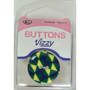 Vizzy Buttons, 2 Hole 23mm, Multicolour, Packet of 2 Buttons, HB5836.52