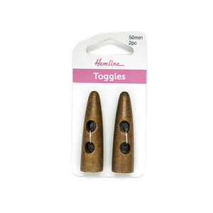 "Hemline Buttons, ""Sharktooth"" Toggles Dark Wood 2 hole 50mm, Pack of 2 Toggles"