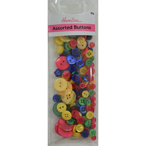 Hemline Buttons, Assorted Sized Buttons, 50g Net, MULTI-COLOUR