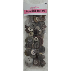 Hemline Buttons, Assorted Sized Buttons, 50g Net, BROWNS, GREYS