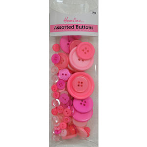 Hemline Buttons, Assorted Sized Buttons, 50g Net, PINKS