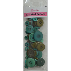 Hemline Buttons, Assorted Sized Buttons, 50g Net, GREEN Buttons