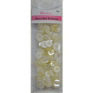 Hemline Buttons, Assorted Sized Buttons, 50g Net, WHITE Buttons