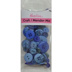 Hemline Buttons, Assorted Craft and Mender Buttons, 40g Net, NAVY, BLUE