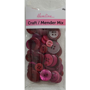 Hemline Buttons, Assorted Craft and Mender Buttons, 40g Net, BURGUNDY