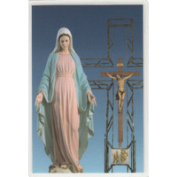 Madonna And Cross, Laminated Holy Picture Card, 110 x 72mm