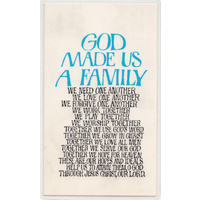 Laminated Holy Card, GOD Made Us A Family, 110 x 65mm