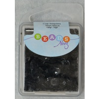 Beads Neez Cup Sequins, 5mm BLACK 5g, Re-Usable Storage Box.