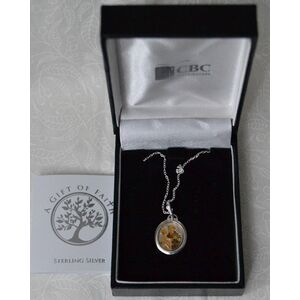 Sterling Silver ST ANTHONY Medal Pendant and Chain, In Box