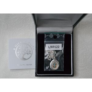Sterling Silver ST BENEDICT Medal Pendant and Chain, In Box