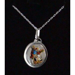 Sterling Silver ST MICHAEL Medal Pendant and Chain, In Box