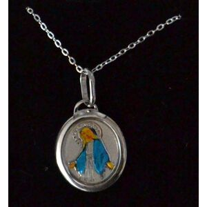 Sterling Silver MIRACULOUS Medal Pendant and Chain, In Box