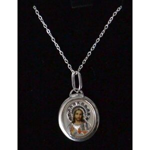 Sterling Silver SACRED HEART OF JESUS Coloured Medal Pendant and Chain, In Box