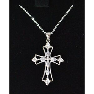 Sterling Silver Chain and Filgree Cross, In Box