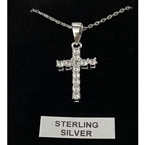Sterling Silver Chain and Cross with Diamantes, In Box
