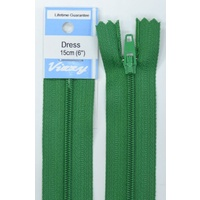 Vizzy Dress Zip, 15cm Colour 110 EMERALD, A Quality Brand Name Zipper.